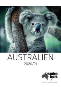 Australienkatalog Titelbild Koala Ozeanien Tours 2020 & 2021