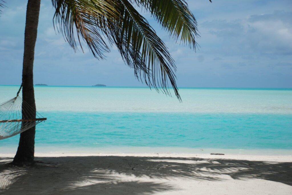 Cook Islands Aitutaki türkisfarbene Lagune Traumblick Ozeanien Tours