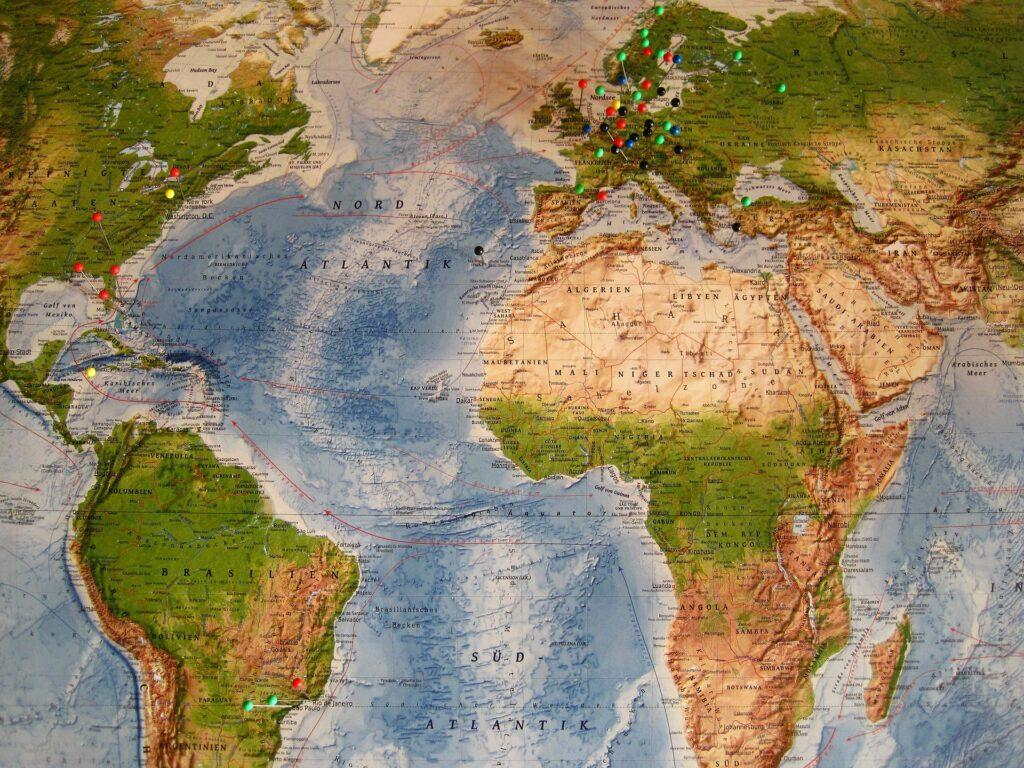 Weltreisen Weltkarte round the world